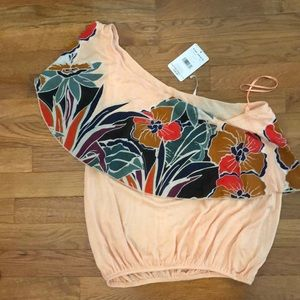 Coral off one shoulder Top with Floral ruffle